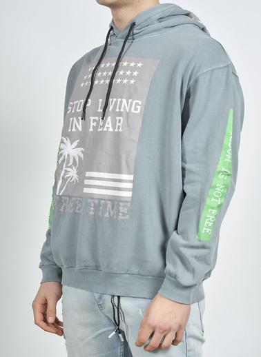 XHAN Antrasit Baskılı Sweatshirt 1Kxe8-44275-36 Antrasit
